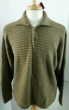 TRICOTS ST RAPHAEL XL BUTTON MOCK NECK SWEATER MENS 100% MERINO WOOL NWT BROWN