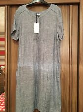 BEAUTIFUL FLAX  LINEN  TUNIC DRESS M & S 14 Short BNWT Chambray