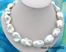 """18"""" 31mm baroque white reborn keshi pearl necklace"""