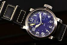 Invicta Men Aviator GMT Blue Dial NATTO Leather Strap Swiss Military Watch 18887
