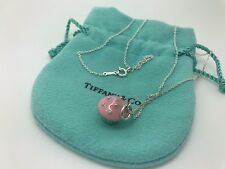 Tiffany Co Sterling Silver Enamel Pink Cupcake Cup Cake Charm Necklace