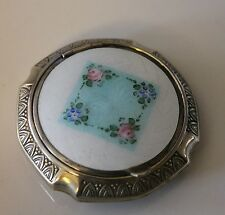 Vintage Compact Evans Tap And Sift Silver Tone With Guilloche Enamel
