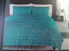 NEW CYNTHIA ROWLEY RUCHED RUFFLED COMFORTER & SHAM FULL QUEEN TURQUOISE TEAL NWT