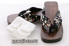 K-G-05 Geta black Japanese Wood Sandal Socks for Kimono Yukata (9 3/5in/Size 38)