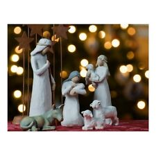 """+""""Christmas-""""Nativity Statues"""" w/Animals/Picture on Postcard/ ~Post Card~ (B-114"""