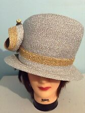 Women's Kakyco  Year Round Church Hat silver And Gold
