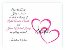 100 Personalized Custom Double Hearts Wedding Save The Date Cards Any Color