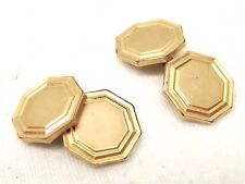 Antique Krementz Plate Cufflink Pair Cuff Links Gold on Brass Vtg Art Deco