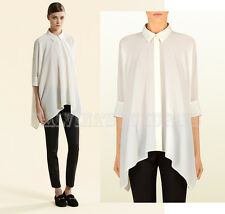$890 GUCCI SHIRT WHITE SILK CREPE DE CHINE TOP CAPE BLOUSE sz IT 40 US 4