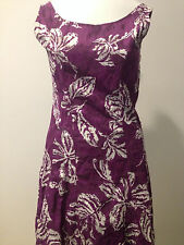 Preowned GORGEOUS PIAZZA SEMPIONE PURPLE WHITE FLORAL CRINKLED DRESS! SHK