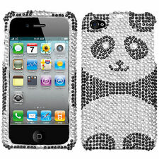 Apple iPHONE 4 4G 4S - CRYSTAL DIAMOND BLING HARD CASE COVER BLACK WHITE PANDA