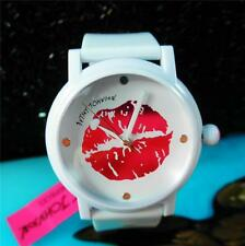 Betsey Johnson Watch MARILYN Smooch Pink KISS LIPS Pout White Strap Rare NIB
