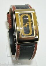 NEW-GUESS BLACK+BROWN PATENT LEATHER BAND+GOLD-TONE 'G' LOGO DIAL WATCH-W80067L1