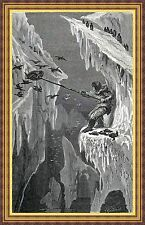Antique print eskimo boy / goose hunt North Pole 1869 stampa antica Eschimese