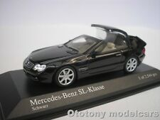 MERCEDES BENZ SL CLASS 2001 BLACK WITH MOVABLE ROOF 1/43 MINICHAMPS NEU