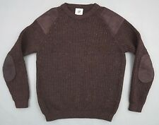 COTSWOLD MENS CREWNECK WOOL SWEATER L HUNTING JUMPER CHUNKY BROWN VGC