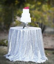 72'' Round Sparkle Silver Sequin Tablecloth For Wedding/Event/Party/Banquet