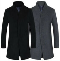 Men casual Wool Long Dust Coat Winter Trench Dress Formal Overcoat Windbreaker