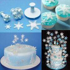 3 Pcs Cake Xmas Snowflake shape Plunger Fondant Decor Sugarcraft Mold Cutter SK