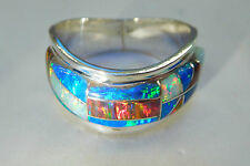 13 Wave BRILLIANT BLACK RED WHITE BLUE FIRE OPAL Ring Men's Sterling SIlver 925
