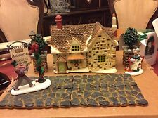 Dept 56  DICKENS VILLAGE COTTAGE 1985 + Accessories Bookseller, Slate Stone, MOR