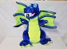 """30"""" tall Flying Plush Dragon Blue Green awesome Toy Works Brand"""