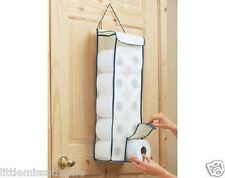 HANGING TOILET ROLL FABRIC ORGANISER / BATHROOM STORE STORAGE DISPENSER HOLDER