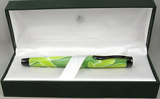 Monteverde Intima Neon Green Swirl Fountain Pen In Box - Stub Nib - New 50% OFF
