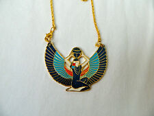 "Large Egyptian Metal Gold Plated Multi-Color Goddess Isis Necklace 1.75"" X 2"""