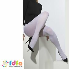 WHITE OPAQUE TIGHTS SANTA FAIRYTALE CHRISTMAS ladies fancy dress hosiery womens