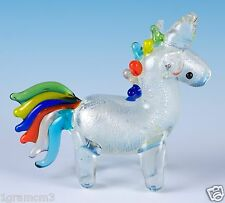 "Miniature Hand Blown Glass Unicorn Figurine 2.25"" High"