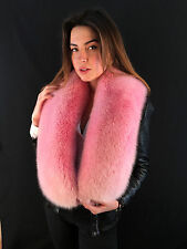 Dyed Arctic Fox Fur Collar. Stole is 51' Inch. SAGA Furs Baby Pink BOA.
