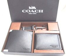 New Coach Men's F64118 ID Wallet 3 piece Gift Set Black Leather NWT $225