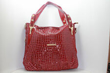 Ladies HandBag Glossy Patent Catwalk Style Tote Purse Shoulder Large Red Leather