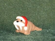 Hallmark Merry Miniature 1990 Walrus wearing Santa Hat - Christmas - NEW