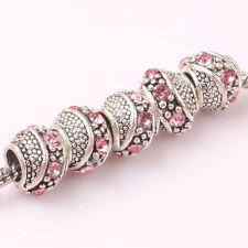 5pcs Tibetan silver pink CZ spacer beads fit Charm European Bracelet DIY AR149