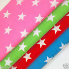 "Funky stars fabric red blue pink green polycotton sold per metre 44"" wide 112cm"