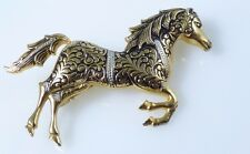 Mid Century Spanish Damascene Enamel Horse Equestrian Circus Gold Tone Brooch