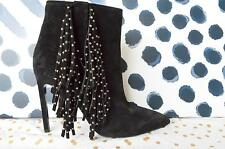 Authentic YSL Yves SAINT LAURENT Black Suede Studded Fringe Ankle Boots Size 40