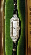 Antique 17J Clinton Swiss Diamond Platinum Womens watch