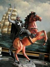 """Hand Painted Mounted Medieval Crusader Knight Figure Realistic Gift 33,5cm/13.2"""""""