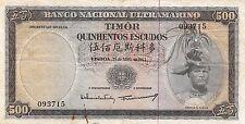 Timor 500 Escudos  25.4.1963  P 29a sign. # 9 circulated Banknote G10d