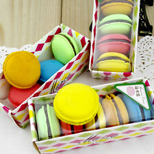 5Quality Macarons Soft Erasers Stationery Office School Pencil Rubber Party Gift