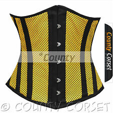Underbust Steel Boned Heavy Lacing Shaper Yellow Black Mesh Summer Corset Korset