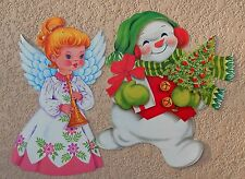 VTG CHRISTMAS ANGEL & SNOWMAN DIECUT PAPER CARDBOARD DECORATION CUTOUT