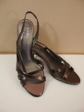 "Coach and Four Principe 9 bronze heels strappy 3"" heel shoes womens"