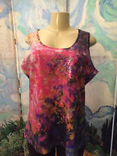 CHRISTOPHER & BANKS XL PURPLE MIX ARTSY SEQUIN  ROUND NECK SLEEVELESS TANK TOP