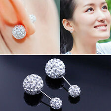 Fashion Lady 925 sterling Silver Swarovski Crystal Rhinestone Ear stud Earrings