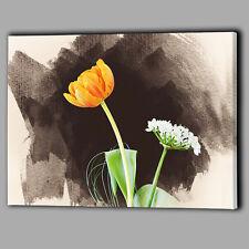 ARANCIONE Tulip CANVAS A2 Grande Wall Art Picture Floreale Bianco PORRO FIORE VERDE