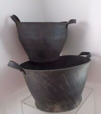 2 Vintage Reclaimed TIRE Rubber Hippers Flower Basket Handcrafted Art Recycled